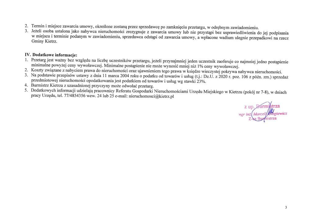Ogłoszenie o III publicznym przetargu ustnym nieograniczonym na sprzedaż dz. 1682_1 Kietrz ul. Kościuszki-3.jpeg