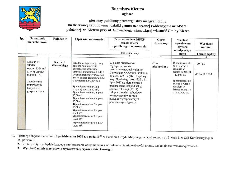 Ogłoszenie o pierwszym przetargu na dzierżawę zabudowanej działki gruntu nr 2451-4 Kietrz ul.Głowackiego-1.jpeg