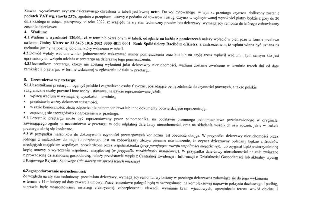 Ogłoszenie o pierwszym przetargu na dzierżawę zabudowanej działki gruntu nr 2451-4 Kietrz ul.Głowackiego-2.jpeg