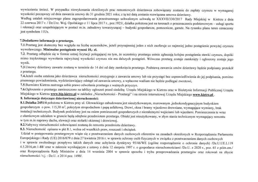 Ogłoszenie o pierwszym przetargu na dzierżawę zabudowanej działki gruntu nr 2451-4 Kietrz ul.Głowackiego-3.jpeg